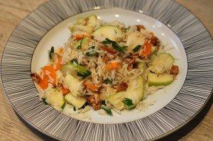 salade de riz aux pommes carottes et fruits secs